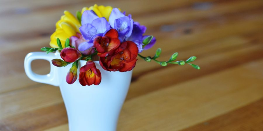 Freesia flowers in a teacup